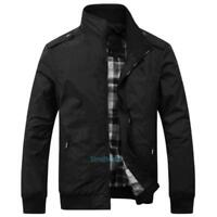 Men's Slim Jackets Stand Collar Jacket Tops Casual Coat outerwear Size M-3XL