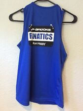 BROOKS RUNNING TANK TOP SZ Med Women's Bib Logo Blue Fanatics Run Happy C18-103