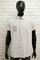 Camicia GAASTRA Uomo Taglia Size L Maglia Shirt Man Cotone Manica Corta Righe