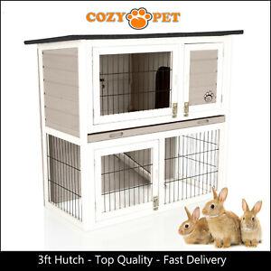 Rabbit Hutch 3ft by Cozy Pet Grey Guinea Pig Hutches Run Ferret Runs RH03GR