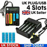 4 Slot Battery Charger For 18650 3.7V Li-ion Rechargeable Batteries UK Plug/USB