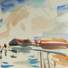 JOSE TRUJILLO Art ORIGINAL Watercolor Painting Lake House Fishing Water Decor