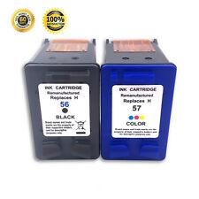 2PK For HP 56 57 Ink Cartridge Black Color For PhotoSmart 7760 7550 7960 Printer