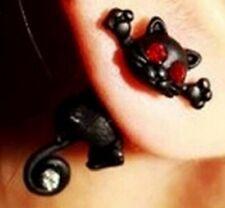 Pair of Black Cat Stud Earrings. Front Back Jewellery for Fancy Dress Parties