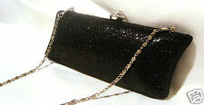 BLACK  CRYSTAL EVENING CLUTCH / BAG with CHAIN **NEW**