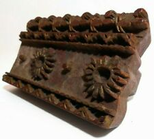 LATE 19TH-EARLY 20TH C INDIAN HAND CARVED WOOD BLOCK BORDER DESIGN TEXTILE STAMP