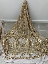 """GOLD STRETCH MESH W/GOLD SEQUIN EMBROIDERY LACE FABRIC 52"""" WIDE 1 YARD"""