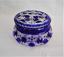 Cut Glass Cobaltl Blue Cut to Clear Dresser Box
