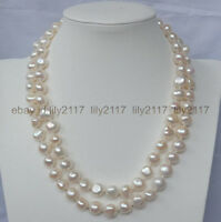 35 INCH BEAUTIFUL 8-9MM NATURAL SOUTH SEA BAROQUE WHITE PEARL NECKLACE
