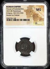 316-326 AD ROME EMPIRE AE3 CRISPUS AS CAESAR BI-NUMMUS CAMP GATE NGC MINT STATE