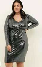 SEQUIN DRESS size 22 black SILVER party NEW LOOK curves LONG SLEEVES occasion