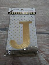 """NIP His & Hers """"Just Married"""" Polka Dot Banner Shimmery Gold 98"""" Long Wedding"""