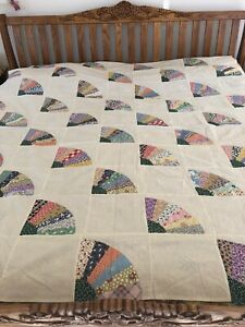 Vintage Grandmothers Fan Aplique 30s Quilt Top 72 x 80 Blue Transfer Pattern