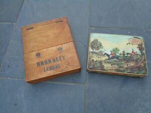VINTAGE BRONNLEY LEMONS ADVERTISING WOODEN DISPLAY BOX & OLD HUNTING SCENE TIN