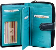 VISCONTI LADIES MEDIUM SOFT LEATHER BLACK/AQUA PURSE WALLET 16 CARD SLOTS CD22