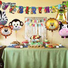 Jungle Safari Animal Balloons Happy Birthday Banner for Kid Birthday Party Decor