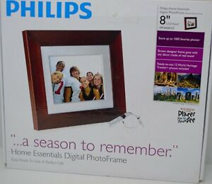 "Philips Photo Brown Frame 8"" LCD Panel Digital Frame 1000 photos SPF3408/G7"