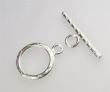 925 STERLING SILVER 14mm Wave Pattern Toggle Clasp 1set #5306-2