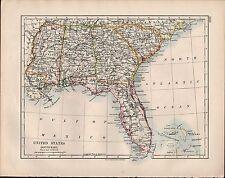 1914 MAP ~ UNITED STATES SOUTH EAST ~ ALABAMA GEORGIA MISSISSIPPI FLORIDA