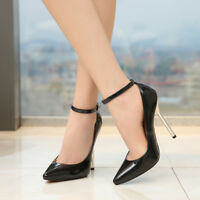 Women Sexy Stiletto High Heels Queen Pumps Ankle Strap Sandals Pointed Toe Shoes
