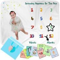 Monthly Baby Milestone Blanket & Milestone Cards Set with Felt Marker