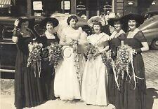Original Vintage 40s Large (7.0 x 4.25) Wedding RP- Maids of Honor- Bride- 1949