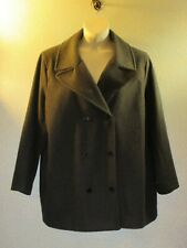 Lands End~Charcoal Gray Wool Pea Coat Jacket 20/ 22W Double Breasted  Lined