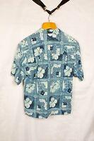 BERMUDA BAY SILK Short Sleeve HAWAIIAN SHIRT Floral Blues Size M/M