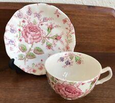 Vintage Rose Chintz Cup Saucer Teacup Johnson Brothers (ENGLAND ~ FLOWER INSIDE)