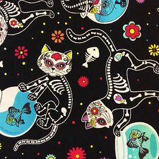 FT88 Dia de los Muertos Cat Kitty Kitten Day of the Dead Cotton Quilting Fabric