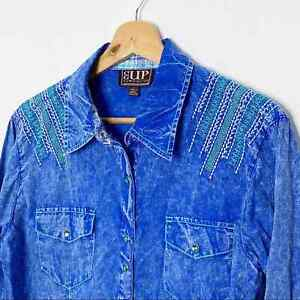 Cowgirl Up Denim Embroidered Western Shirt Blue Large Cotton