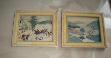 "2 Grandma Moses Framed  Art Prints ""Joy Ride"" & ""The Old Automobile"" small"