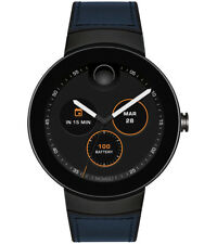 Movado Swiss Connected Black Silicone & Navy Leather Strap Smart Watch 3660020