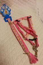 Cute designer Pink dog bone print Ribbon Harness Leash Small Yorkie Poodle Puppy