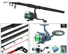 TELESCOPIC SEA FISHING KIT TRAVEL ROD & REEL 10ft 10' BEACHCASTER PIER SURF ROD