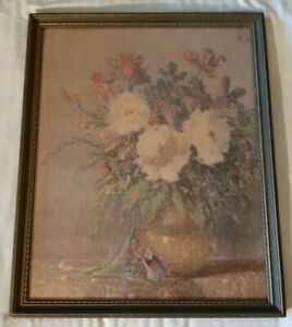 VTG Gustave Weigand 30's Botanical Peony Flower Art Print Lithograph Picture