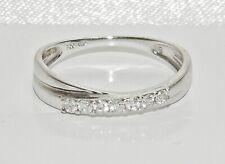 18ct White Gold 0.15ct Diamond Crossover Eternity Wedding Ring size M