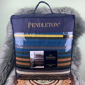 Pendleton Olympic Park Gray Stripe Cotton 3 Pieced Quilt Set Full / Queen NEW