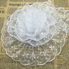 New 5 yards 65mm White Organza Lace Gathered Pleated Sequined Trim
