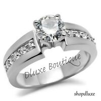 Women's Round Brilliant Cut Stainless Steel AAA CZ Engagement Ring Band Sz 5-10