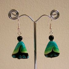 SALE 25% OFF New Green & Black Wave Triangle Glass Bead Silver Plated Earrings