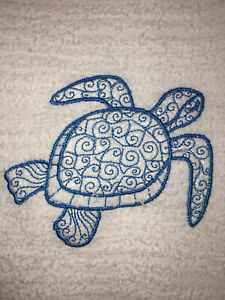Embroidered  Kitchen Bar Hand Towel-  Sea Turtle Doodle BS0577