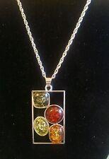 Modernist Multicolor Baltic Amber Pendant & Chain.67mm.Anti allergy.UK SALE.NEW