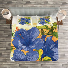 Tropical Quilted Bedspread & Pillow Shams Set, Hibiscus Exotic Art Print