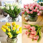 10Pcs Artifical Real Touch PU Tulips Flower Single Stem Home Centerpiece Decor