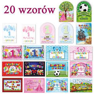 Birthday invitations one year old Zaproszenia na urodziny urodzinki roczek 10szt