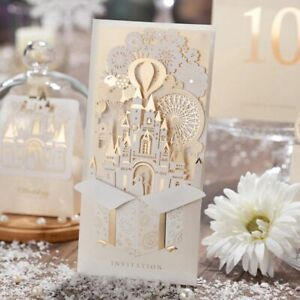 Wedding Invitations Cards Bride And Groom Castle Champagne Laser Cut Invite Card