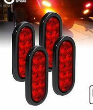 """4X Trailer Truck Lights LED Sealed RED 6"""" Oval Stop Turn Tail Marine Waterproof"""