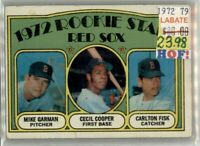 Carlton Risk  Boston Red Sox  1972 Topps #79 Baseball Rookies to 2020!