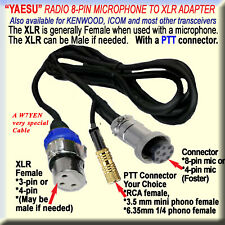 YAESU MICROPHONE CABLE, AMATEUR HAM 8-PIN, (FOSTER), to XLR FEMALE, (MALE) & PTT